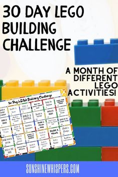 This fun FREE printable Lego challenge from Sunshine Whispers will keep your kids engaged in different activities for 30 days. These fun STEM activities are the perfect building challenge for your kids each day. These activities are great for all ages of children from preschool all the way to tweens and teens. Get your free printable today and begin your 30 day Lego building challenge. #Lego #Legoactivities #kidsactivities #freeprintable #STEM #buildingchallenge
