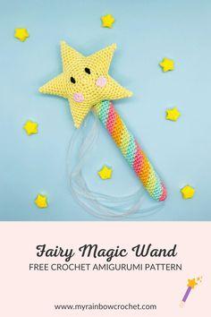 Download fairy magic wand free crochet pattern on my website ! - My Rainbow Crochet #freepattern #crochetpattern #magic #witchcraft #spirituality #amigurumipattern #easycrochet #crochettoy #handmade Easy Beginner Crochet Patterns, Crochet Amigurumi Free Patterns, Free Crochet, Crochet Dolls, Crochet Fairy, Toddler Christmas Gifts, Kawaii Crochet, Rainbow Crochet, Crochet Stitches