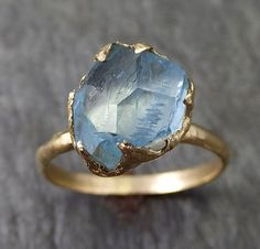 Raw Uncut Aquamarine Solitaire Ring Wedding Ring by byAngeline