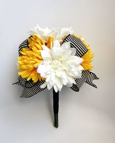 White and Yellow Wedding Bouquet with Silk Dahlias by fleurdunord, $54.00--just one is 50 bucks but hello we could make these!
