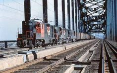 NH on the Hell Gate, in this 1963 colorful NHers with a Bay Ridge to Cedar Hill bound freight Diesel, Railroad Bridge, Railroad Pictures, Cedar Hill, Heavy Equipment, Trains, Gate, Transportation, Electric
