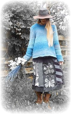 RESERVED for Mireille Langlois - Monochrome Upcycled Skirt Butterfly Black Stretch Striped Gypsy Folk Goth Abstract Recycled Clothing Eco