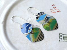 Tin Earrings, Small  Asian Tin Earrings, Light Weight Dangles, Sterling Earring Wires