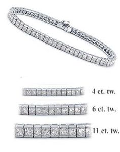 6 ct. tw. White Gold Princess Cut Diamond Tennis Bracelet