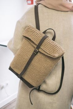 Jute & Leather Backpack for Women, Crochet Roll Top Backpack by POLE Homeware - Home Warei Deas Crochet Handbags, Crochet Purses, Top Backpacks, Leather Backpacks, Leather Bags, Crochet Backpack, Crochet Market Bag, Jute Bags, Basket Bag