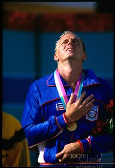 "Ambrose ""Rowdy"" Gaines, IV (born February 17, 1959) is a former American competition swimmer, U.S. Olympic Hall of Fame member, three-time Olympic gold medalist, and member of the International Swimming Hall of Fame. He is currently the chief fundraiser for USA Swimming as well as a swimming analyst for television networks ESPN and NBC including coverage of the Beijing 2008 Summer Olympics and the London 2012 Summer Olympics"