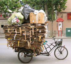 Recycle bike #paper #plastic