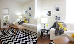 Through the Front Door: black, white, gray, and yellow