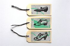 Items similar to Shoe Collection Lino Print Handmade Luggage Style Gift Tag Pack of 3 - Gift Packaging on Etsy Pottery Designs, Paper Cards, Gift Packaging, Tag Art, Shoe Collection, Gift Tags, Stencils, Wraps, Printing