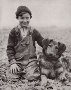 1930's photo ... Boy and Dog Shepherd Dog black and white photo.