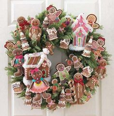 gingerbread wreath!  :)--no instructions.  Use for inspiration--do out of felt & sewing trims?
