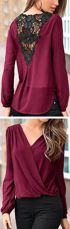 Wine Lace Back Blouse ❤︎ Beautiful color, and it looks conservative enough that you can wear a normal bra beneath...