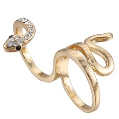 eManco Punk Statement Snake Rings for Women Double Fingers Alloy Jewelry Gold ** Visit the image link for more details. #Rings
