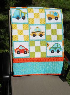 Wheels on the Go Cars Trucks Taxis Wreckers Crib Bedding Quilt Playtime Quilt Car Seat Quilt Diaper Bag Wheelchair Lap Quilt or Wallhanging Rag Quilt, Patch Quilt, Applique Quilts, Quilt Blocks, Baby Sewing Projects, Quilting Projects, Quilting Designs, Baby Boy Quilts, Kid Quilts