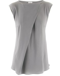 Silver Silk Blouse Dia - love everything about this... the weight of the fabric, the bias cut styling, the elegantly feminine diagonal pleat... if only it weren't grey! Wouldn't a jewel tone berry be perfect?!