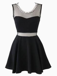 Shop Mesh Insert Skater Dress With Rhinestone Neckline from persunmall.com .Free shipping Worldwide.