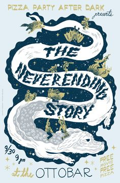 Here's a poster design for an upcoming showing of The Neverending Story here in Baltimore hosted by Pizza Party Printing. It's gonna be so much fun and y'all wish you could be there! & by that I mean I wish you could be there ♥ The AURYN is going to grace the back of the t-shirt version of this! Check back soon for the link where you can pick up one of those for your own! *UPDATE* - T-shirts are available here!