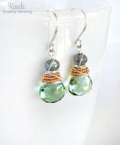Sage Green Gemstone Earrings Labradorite Wire Wrapped by Kande, $38.00