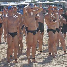 Swimmers at the the Bondi Bluewater Challenge @oceanswims @aussiebum #seeaustralia #bondibeach #bondi #oceanswims #nsw #australia #beach #sydney #nofilter #speedo #aussiebum