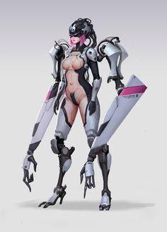 Cyborg by wenfei ye on ArtStation. Female Character Design, Character Concept, Character Art, Concept Art, Female Cyborg, Female Art, Fantasy Women, Fantasy Girl, Ex Machina