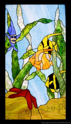 Stained glass with pterophyllums and seastar, handcrafted by Wieniawa-Piasecki Workshop www.e-witraze.pl