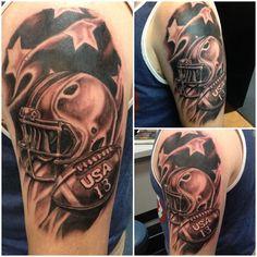 Team USA Football Tattoo done by Mark Haley at Big Ink Tattoos and Piercing #tattoo #tattoos #football #footballtattoo #helmet #helmettattoo #usa #usatattoo #teamusa #teamusatattoo #markhaleytattoos #bigink #biginktattoos #arnotmall #arnotmalltattoos #horseheadsny #corningny #h2ocean #fusion #fusionink