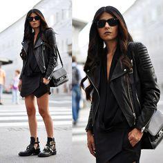 Ray Ban Wayfarer Sunnies, H&M Biker Leather Jacket, Zara Shirt, Zara Skort, Proenza Schouler Bag, Balenciaga Cut Out Boots