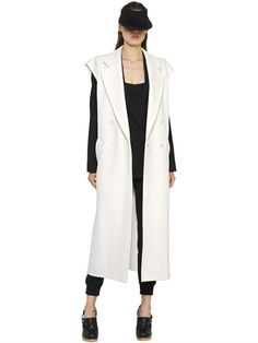 MAX MARA Double Breasted Wool Blend Long Vest, Ivory. #maxmara #cloth #vests