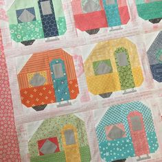 "Another quilt from my Spelling Bee Book...these are the 6"" Camper blocks:) ✨✨ #beeinmybonnet #spellingbeebook"