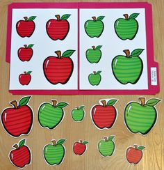 These Matching and Sorting File Folder Games are apple themed and are fun for the beginning of the school year or during the fall season. .  This set includes eight unique file folder games with three bonus games for differentiation (for a total of 11 games!)  http://www.filefolderheaven.com/file-folder-game-packs/apple-themed-matching-and-sorting-file-folder-games
