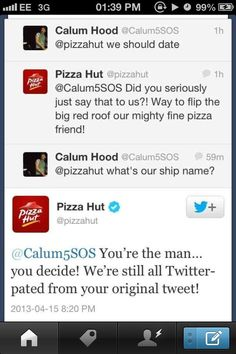 The newest couple, Calum Hood and Pizza Hut<<< 5sos Tweets, 5sos Memes, Calum Thomas Hood, Calum Hood, Header, Ship Names, 5secondsofsummer, I Ship It, 1d And 5sos