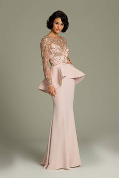 Long Jovani peplum gown: Bridesmaids