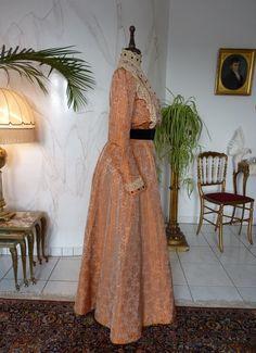 Orange Silk Brocade Reception Gown, ca. 1905