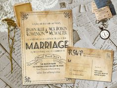 Wedding Invite and RSVP  Marvelle Vintage Rustic by FifthVintage, $2.30