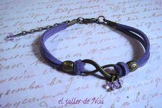 #Pulsera ref. ibi15010 de la colección Infinit Bracelet. #Infinito para estas pulseras en clave de #lila. Más en www.eltallerdenoa.com #bisutería #jewelry #infinity #antelina #suede #bracelet #joyería