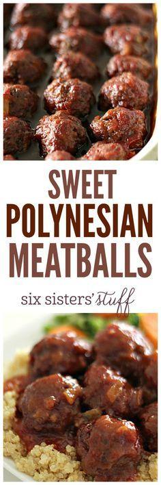 "Sweet Polynesian Meatballs on <a href=""http://SixSistersStuff.com"" rel=""nofollow"" target=""_blank"">SixSistersStuff.com</a> - the easiest homemade meatballs!"