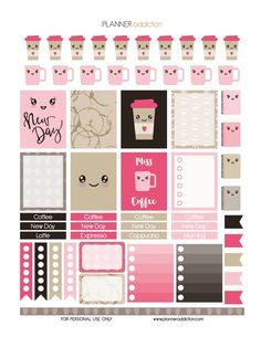 Free Coffee Kawaii Printable Planner Stickers | Planner Addiction