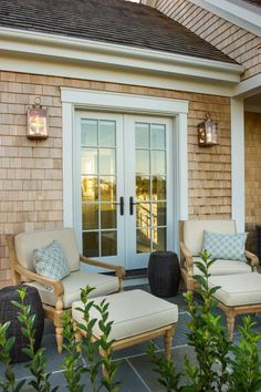 French doors from master bathroom lead outside to a private patio, designed for quiet relaxation after a relaxing soak.