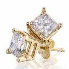 1.25 ctw White Sapphire Princess cut Stud Earrings ~ 14k Yellow Gold ~ Gift box!