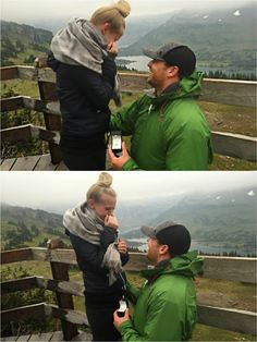 This proposal in Montana is so sweet. They hiked through rain to the top of a mountain, where he got down on one knee to propose!