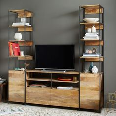 Rustic Modular Media Set With Open + Closed Storage