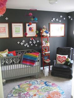 baby room (unisex) Like the wall color and then the adding of bright colors