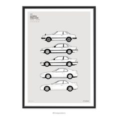 Features all the Honda Prelude Generations. A2 420mm x 600mm (23.4 x 16.5) These are high quality fine art prints. Printed using an Epson Stylus Pro printer onto 190gsm satin photo paper. Incredible detail, resolution and vibrancy. Frame not included. - Online Store Powered by Storenvy