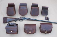 Hamerless Double barreled shotgun, with pouches. Hobbies For Women, Hobbies That Make Money, Leather Projects, Leather Crafts, Leather Pouch, Leather Bags, Sporting Clays, Custom Leather, Leather Working