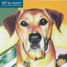 Dog painting dog art commission pet painting, Rico, a Rhodesian Ridgeback https://www.etsy.com/shop/ARTbyJaniceY