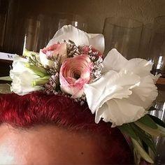 Floral headband designed for Deep Roots in Manhattan Beach. #flowers #fleurology #florist #floristsofinstagram #floral #floraldesign #floralarrangement #arrangement #bouquet #botany #plants #art #beauty #nature #wedding #weddings #bridal #weddingplanning #event #events #eventplanning #flowersubscription #ranunculus #lisianthus #limonium #floralcrown #headband #floralheadband #crown #nofilter