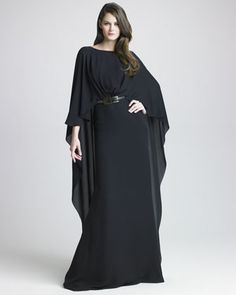 Silk Georgette Capelet Gown by Elie Saab at Neiman Marcus.