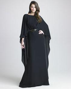 Silk Georgette Capelet Gown by Elie Saab at Bergdorf Goodman, Abaya, bisht, kaftan, caftan, jalabiya, Muslim Dress, glamourous middle eastern attire, takchita