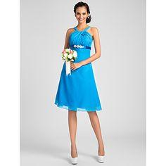 A-line Straps Knee-length Chiffon Bridesmaid Dress – USD $ 69.99