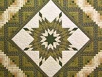 Green and Gold Lone Star Log Cabin Quilt